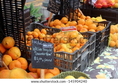 Oranges at the Santa Barbara Farmer's Market - stock photo