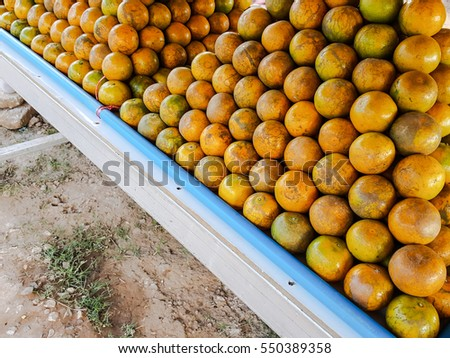 Oranges fruits food for selling at street markets in Thailand