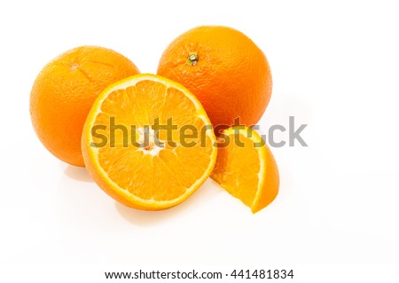 Oranges - halved, quartered and whole fruits on white background; Juicy southern fruits; Fresh ingredients for delicious sweet desserts or marmalade - stock photo