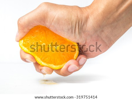 oranges,Hands are squeezed orange on a white background