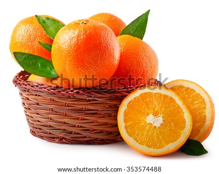 Oranges in basket on a white background.