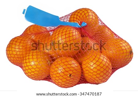 Oranges in red Plastic Mesh Sack on White Background