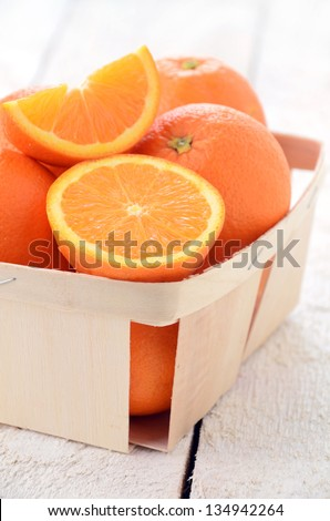 Oranges in the basket close-up
