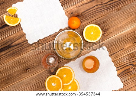 Oranges isolated cut set on wooden base