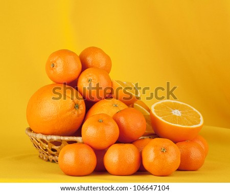 oranges on a yellow background