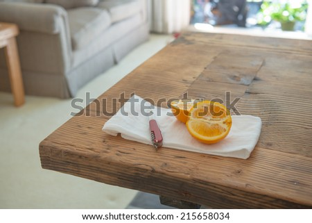 Oranges on wood table