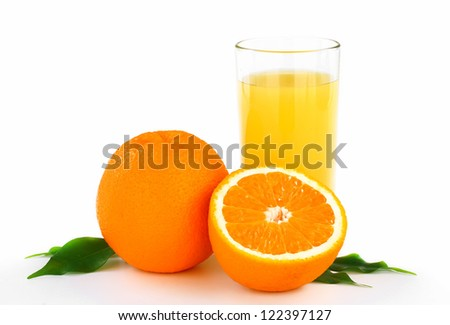 oranges with leaves and fresh juice