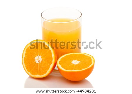 Oranges with orange juice on white background