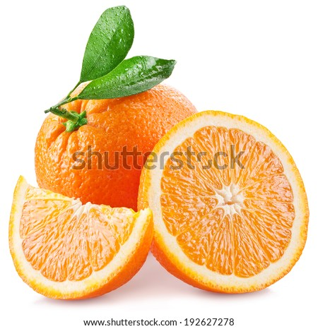 Oranges with slice and leaves isolated on a white background. Image with a maximum depth of field. - stock photo