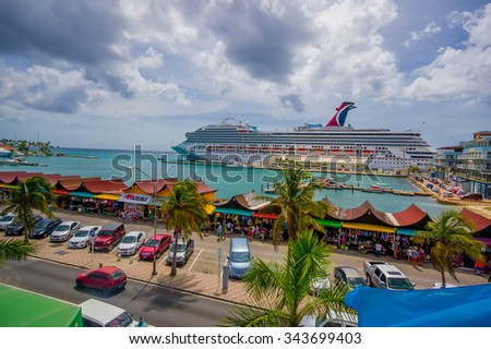 Oranjestad Aruba November Downtown Stock Photo - Cruise ships in aruba