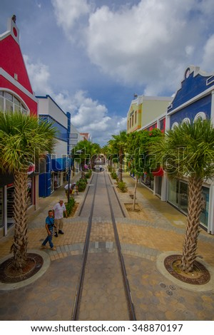 ORANJESTAD, ARUBA - NOVEMBER 05, 2015: Downtown port and shopping disctrict used for tourism of cruise ships passengers