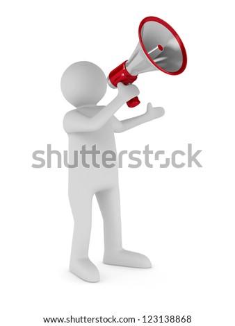 orator speaks in megaphone. Isolated 3D image - stock photo