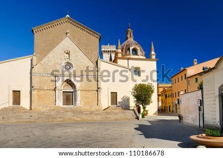 Orbetello Cathedral (toscana - italy) - Concattedrale di Santa Maria Assunta - stock photo