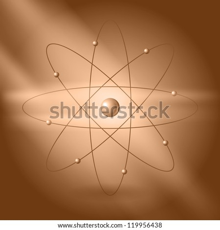 Orbital model of atom on brown background. Raster version of the loaded vector.