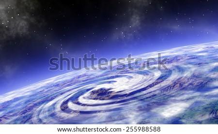 Orbital space landscape - stock photo