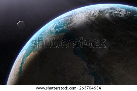 Orbital view of an extraterrestrial Earth-like planet with atmosphere and a moon-like planet rising behind it. Elements of this image furnished by NASA - stock photo