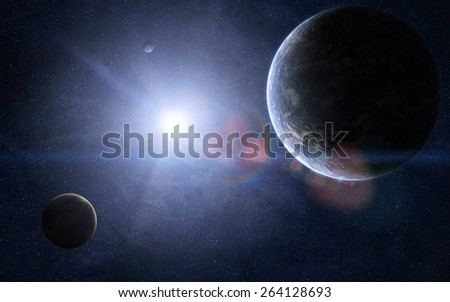 Orbital view of couple of extraterrestrial planets and a sun shining between them. Elements of this image furnished by NASA