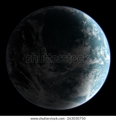 Orbital view on an extraterrestrial Earth-like planet with atmosphere - stock photo