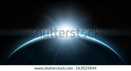 Orbital view on an extraterrestrial Earth-like planet with atmosphere and a sun rising above it - stock photo