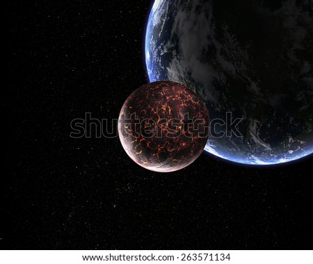 Orbital view on an extraterrestrial Earth-like planet with atmosphere and its satellite moon covered in lava rivers - stock photo