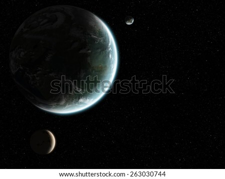 Orbital view on an extraterrestrial Earth-like planet with atmosphere and its two moons in space - stock photo