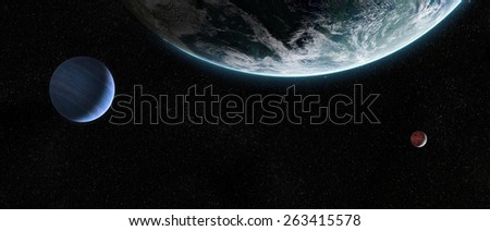 Orbital view on an extraterrestrial Earth-like planet with atmosphere and its two moons in space. Elements of this image furnished by NASA - stock photo
