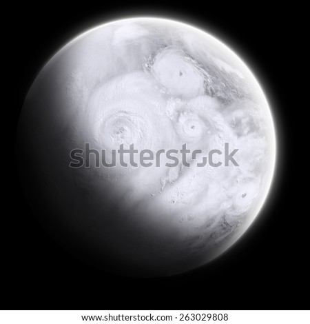 Orbital view on an extraterrestrial Earth-like planet with lots of typhoons and storms - stock photo