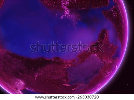 Orbital view on an extraterrestrial purple planet with atmosphere - stock photo