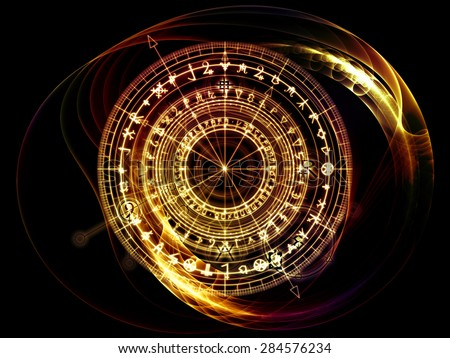 Orbits of Destiny series. Backdrop design of sacred symbols, signs, geometry and designs to provide supporting element for illustrations on astrology, alchemy, magic, witchcraft and fortune telling - stock photo