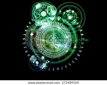 Orbits of Destiny series. Composition of sacred symbols, signs, geometry and designs suitable as a backdrop for the projects on astrology, alchemy, magic, witchcraft and fortune telling - stock photo