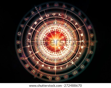 Orbits of Destiny series. Creative arrangement of sacred symbols, signs, geometry and designs as a concept metaphor on subject of astrology, alchemy, magic, witchcraft and fortune telling