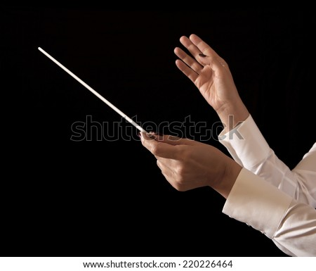 Orchestra conductor hands baton. Music female director holding stick