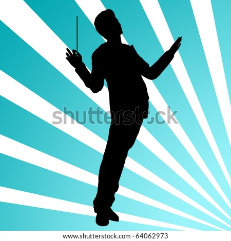 Orchestra conductor silhouette illustration - stock photo