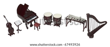 Orchestra instruments including a piano, harp, mamba, bass, bongo drums and a music stand - path included - stock photo