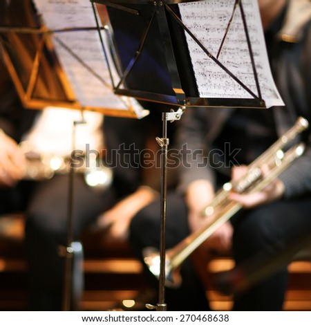 Orchestra music stands - stock photo