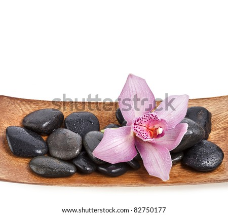 orchid flower and stones isolated on white