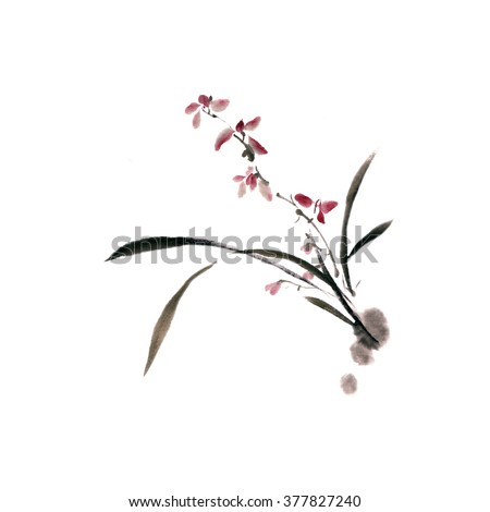 Orchid flower isolated on white background. Ink, watercolor, traditional oriental art. - stock photo
