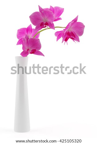 orchid flowers in vase isolated on white background. 3d illustration - stock photo