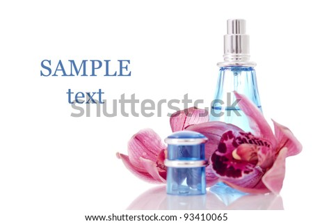 Orchid Scented Perfume with Space for Text - stock photo
