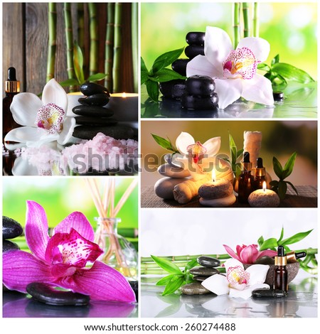 Orchid spa compositions in collage - stock photo