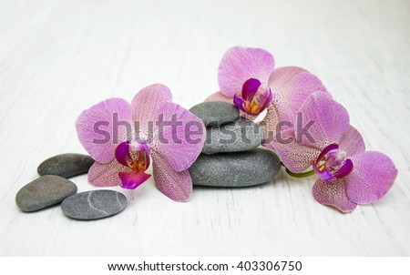 Orchids and massage stones on a wooden background - stock photo