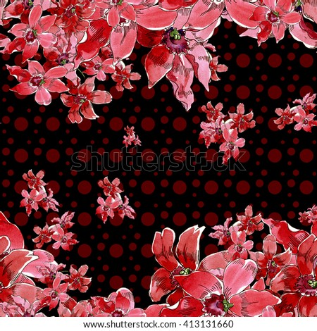 Orchids. Flower pattern. Seamless texture with bright flowers in watercolor.