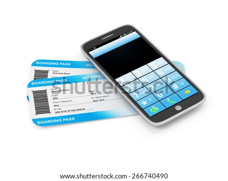 Order Airline Tickets via Smart Phone Application Concept. Airline Boarding Pass Tickets with Modern Touchscreen Smart Phone isolated on white background. Tickets of My Own Design - stock photo