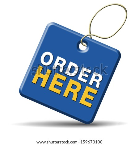 order here on online internet webshop. Shopping icon or sign or webshop label.