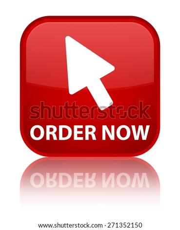 Order now (cursor icon) red square button - stock photo