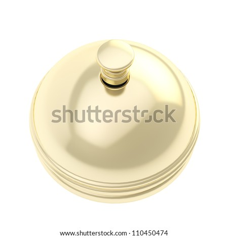 Order now: golden reception bell shiny with reflections isolated on white - stock photo