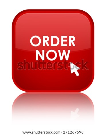 Order now red square button - stock photo