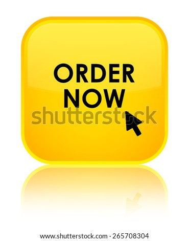 Order now yellow square button - stock photo
