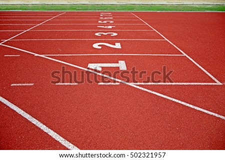order number and lines of race track for running,backstretch, racecourse in sports stadium, arena, ground for sports, running lines