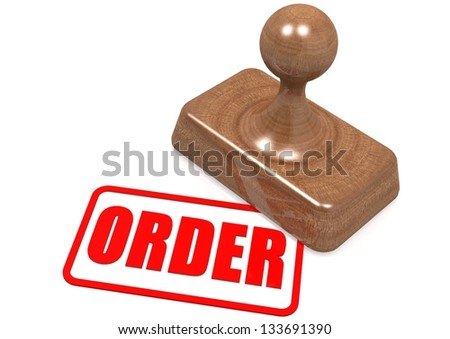 Order word on wooden stamp - stock photo